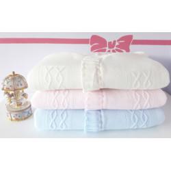 Nid d'ange naissance en tricot Blanc , rose et bleu-detail