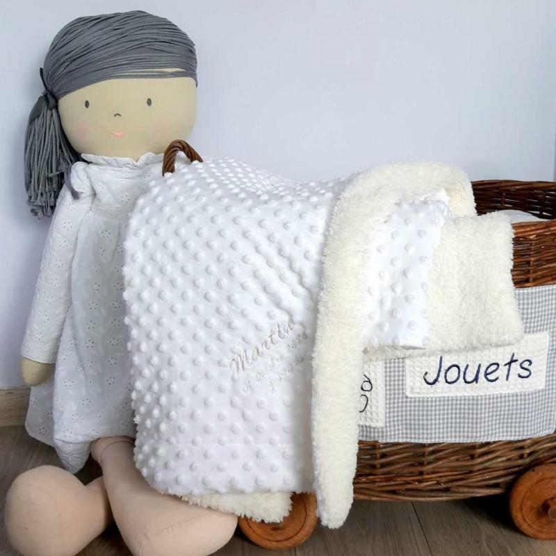 Couverture bébé fourrure blanche personnaliséé