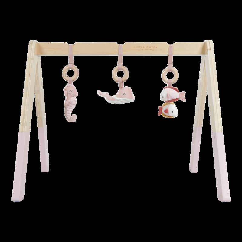 Arche d'éveil en bois rose bébé