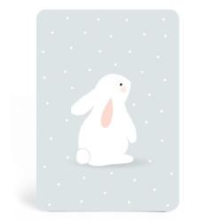 Carte bleue avec lapin blanc zu-detail
