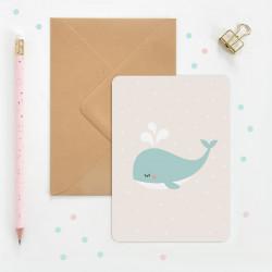 Carte baleine zu pour enfant, naissance, anniversaire-detail