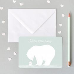Carte bleue avec ours polaire blanc zu-detail