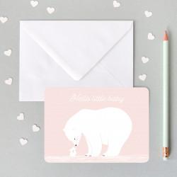 Carte rose avec ours polaire blanc little baby-detail
