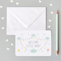 Carte blanche welcome litte baby décorée mixte-detail