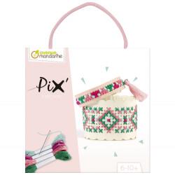 Pix trésor, création bracelet rose-detail