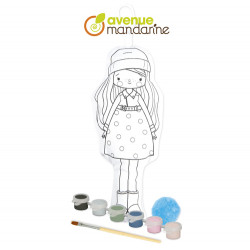 Poupée à peindre enfants Ariane avenue mandarine-detail