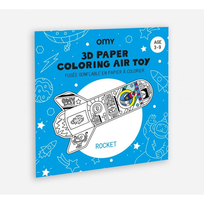 Fusée gonflable en papier à colorier OMY