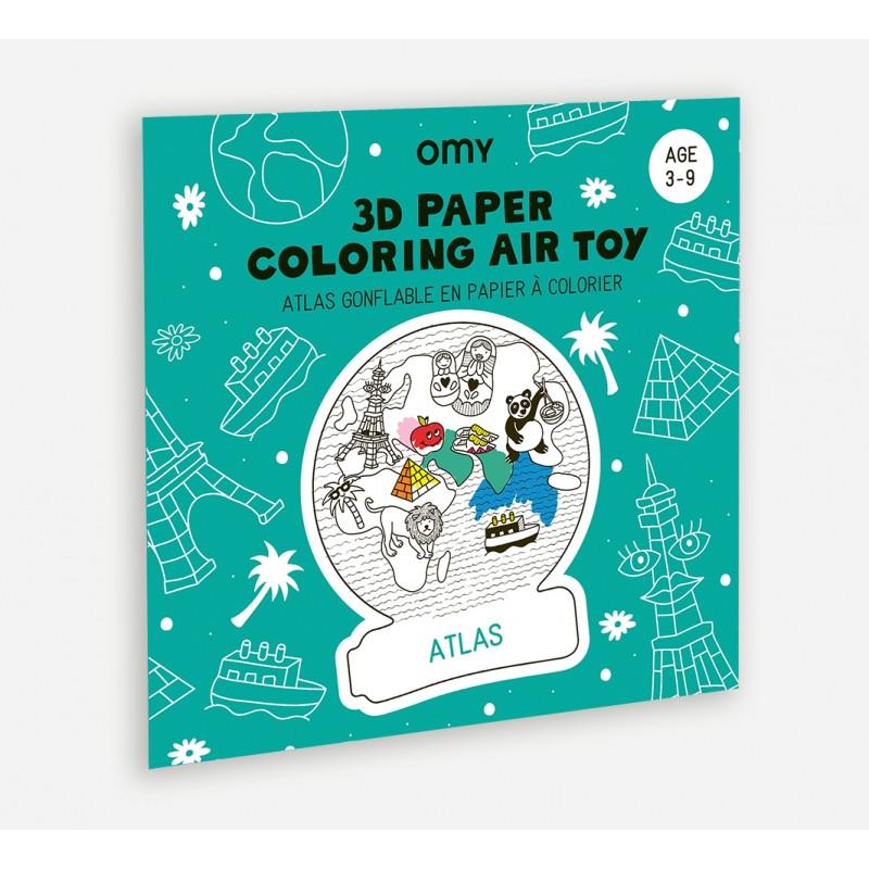 Atlas gonflable en papier à colorier OMY