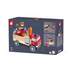 Jeu camion de pompier en bois-detail