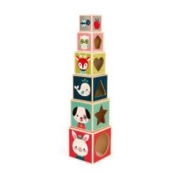 6 cubes en bois pour aider l'enfant à apprendre-detail
