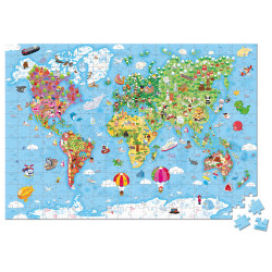 Puzzle carte du monde avec mallette de rangement-detail