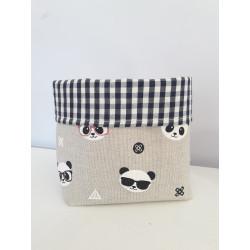 pochon de rangement fait main en lin imprimé panda-detail
