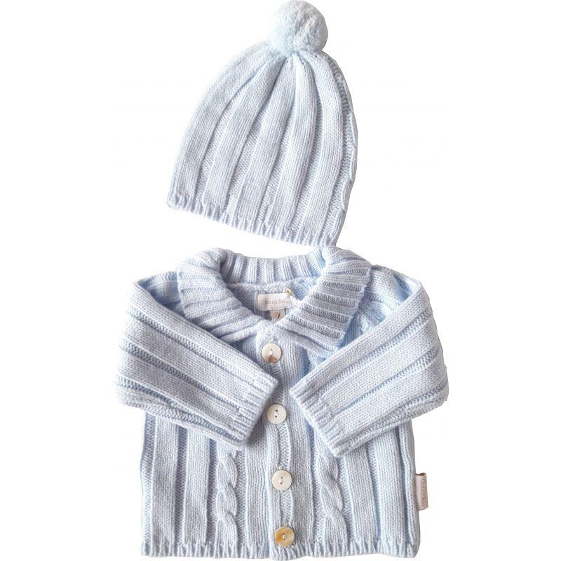 Gilet bleu laine et son bonnet pompom